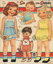 VINTGE 1953 SIX LITTLE STEPPERS PAPER DOLL ~CUTE LASER REPRO~ORG SZ UNCUT~LOW PR
