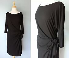 *NEW Ann Taylor Black Stretchy Pleated Tie Front 3/4 Sleeve Top Dress Women L