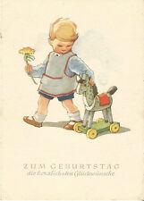 Geburtstag, Kind mit Blume und Spielzeug, Pferd auf Rollen, alte Ansichtskarte