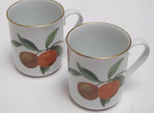 Two Royal Worcester Evesham Pattern Coffee Mugs 1961 Peaches & Berries