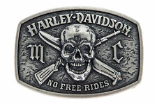 Harley Davidson Mens No Free Ride Skull with Crossbone Weapons Buckle