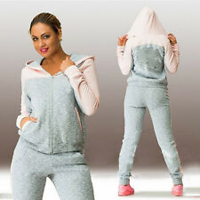 2Pcs Lady Women Casual Tracksuits Hoodies Hooded Sweatshirt Pants Activewear Set