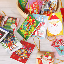 10x Merry Christmas Greeting Cards Best Wishes Christmas Tree Hanging Decor Gift