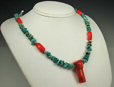 New Southwestern STERLING Necklace with Raw TURQUOISE & Natural CORAL~ADJUSTABLE