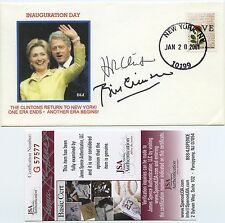 PRESIDENT HILLARY CLINTON & BILL CLINTON SIGNED FIRST DAY COVER JSA COA