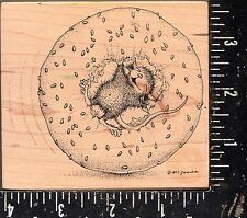 Stampa Rosa Wood Mounted Rubber Stamp House Mouse with Bagel