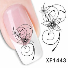 NAIL ART STICKER WATER TRANSFER STICKERS BLACK FLOWER DECALS TIPS 3D DECORATION