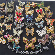 Vintage Collection Rhinestone Enamel Cabochon Butterfly Mixed Lot Signed