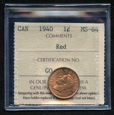 1940 Canada 1 Cent Coin ICCS Graded MS64 # GQ 361