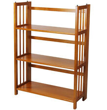 "Casual Home 3 Tier Folding Stackable Bookcase 27.5"" Wide Honey Oak, 330-25U New"