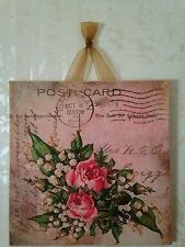 Vintage Shabby Pink Roses Sign Plaque Wall Decor French Country Picture Chic