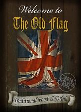 THE OLD FLAG TRADITIONAL BRITISH PUB SIGN:VINTAGE STYLE HOME DECOR  METAL SIGN