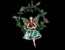 GISELA GRAHAM 1x HOLLY PRINT VINTAGE FAIRY HOOP ANGEL CHRISTMAS TREE DECORATION