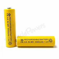 2 x AA Cell 3000mAh Ni-MH Rechargeable Battery Yellow For CD player camera flash