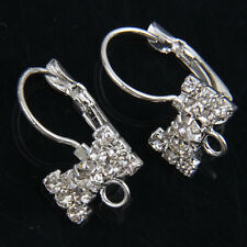 12Pcs Silver Plated Crystal Bowknot Earrings Hooks Connectors