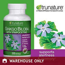 trunature Ginkgo Biloba with Vinpocetine 300 Softgels NEW