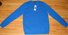 NEW WOMEN'S MAGASCHONI 100% CASHMERE CREW NECK SWEATER ~L~SOHO BLUE MOULINE