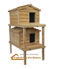 LARGE DOUBLE DECKER INSULATED CEDAR CAT HOUSE SHELTER