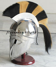 MEDIEVAL GREEK CORINTHIAN HELM BLACK & YELLOW PLUME ROMAN KNIGHT ARMOR HELMET