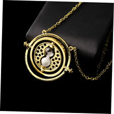 Trendy Retro Rotating Time-Turner Gold Hourglass Pendant Chain Necklace GU