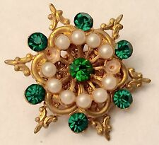 Vintage Costume Jewelry Brooch Snowflake Gold Color Fake Emeralds & Pearls Old