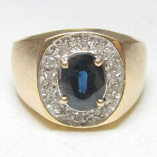 Mens $2500 14K Yellow Gold 1.60 Ct Natural Blue Oval Sapphire And Diamond Ring