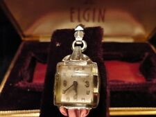 Elgin Ladies Wrist Watch Wind Up Missing Stem 17 Jewel in Case & Box 10k Vintage