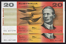 20 Dollars $20 Australian Banknote 1985 Johnston Fraser R409a ORC-B Serials pair