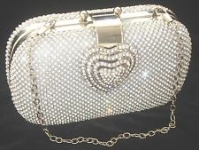 Heart Clasp Silver  Diamante Crystal Diamond Evening bag Clutch Purse Party Prom