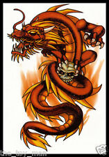 TRIBAL RED DRAGON & SKULL TEMPORARY BODY TATTOO STICKER FOR MEN~NECK ARM BACK #9