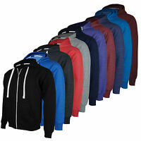 Mens Zip Up Hoodie Hooded Top Plain Hoody Fleece Jacket Size S M L XL XXL New