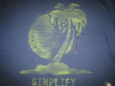 MENS LIFE IS GOOD S/S ENGRAVED PALM TREE T--SHIRT SIZE L