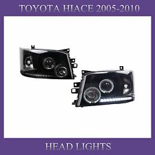 Projector Lens Crystal Black Angel-eye LED Headlights Headlamps for TOYOTA Hiace