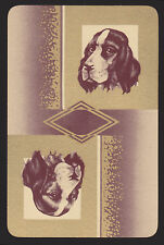 1 Single VINTAGE Swap/Playing Card DOGS SPANIEL HEADS on GOLD Reversible