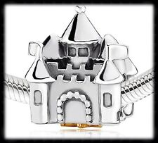 PANDORA Inspired Silver and 14k Gold Castle With Crown Charm 791133PCZ New