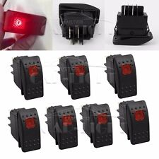 7pcs ROCKER TOGGLE SWITCH LED LIGHT BAR CAR BOAT MARINE 12V 20A 4PIN On/Off RED