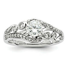New Unique 14K White Gold Diamond Halo Round Vintage Design Engagement Ring