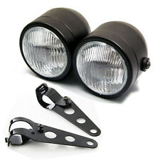Black Twin Dominator Headlight Motorcycle Dual Lamp With Mount Bracket Street