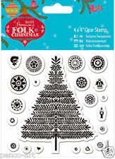 Docrafts Papermania Folk Christmas tree & decorations clear rubber stamp set