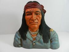 Vintage Ceramic Bust Figurine Of Native American Indian Hand Painted #2