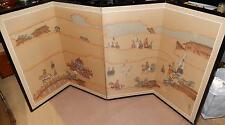 HUGE CHINESE EMPEROR AND MILITARY WATERCOLOR SILK 4 PANEL SCREEN PAINTING SIGNED