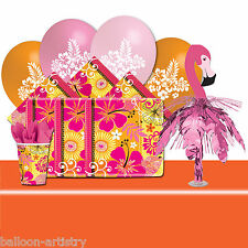 Deluxe Tropical Summer Flamingo Hawaiian BBQ Garden Party Tableware Pack For 8