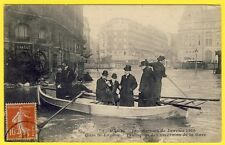 cpa 75 - PARIS INONDATION De 1910 GARE ST LAZARE CANOT Transport des RIVERAINS