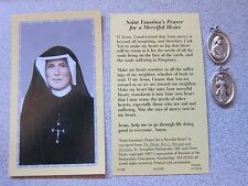 Holy Card Medal SAINT Faustina Divine Mercy + Chain NEW