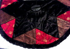 "NWT 54"" VILLA BACCI Tree Skirt-Black Velvet Star, Fur Trim, Red & Leopard Also"