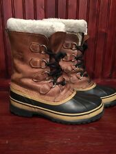 SOREL Men's Size 9 US Caribou Tan Brown Leather Winter Snow Boots RETAIL $150