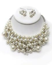 F3 Faux Pearl Multi Layer Bib NECKLACE EARRING SET White Silvertone Classic NEW