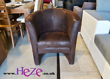 Antique made brown tub chair in suede like fabric York, lovely and elegant