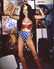 JULIE STRAIN HAND SIGNED 8x10 COLOR PHOTO+COA         SEXY POSE AS WONDER WOMAN