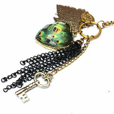 Vintage peacock eye feather heart key leaf chain necklace